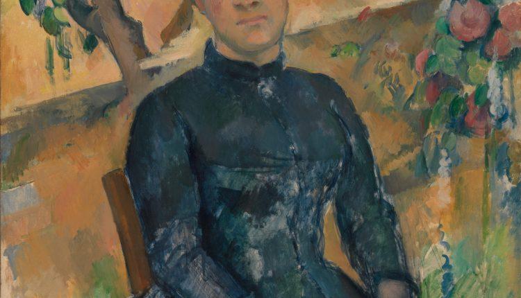 همسر پل سزان ارتنس فیکه Hortense Fiquet در گلخانه ۱۸۹۲–۱۸۹۱.